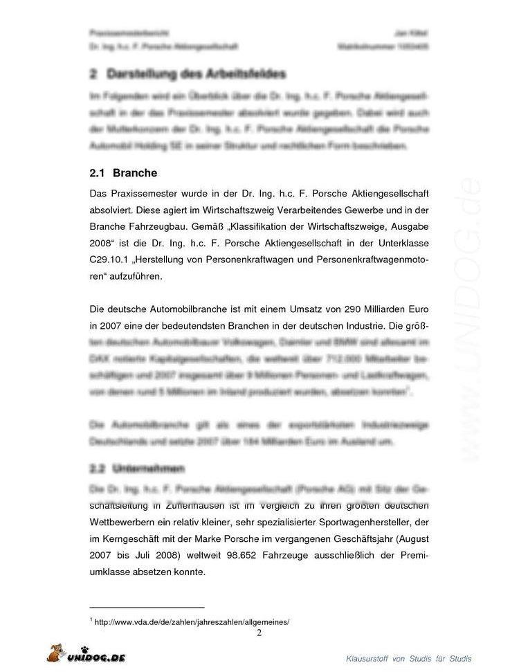 Unidog Praxisphasenbericht Porsche Ag