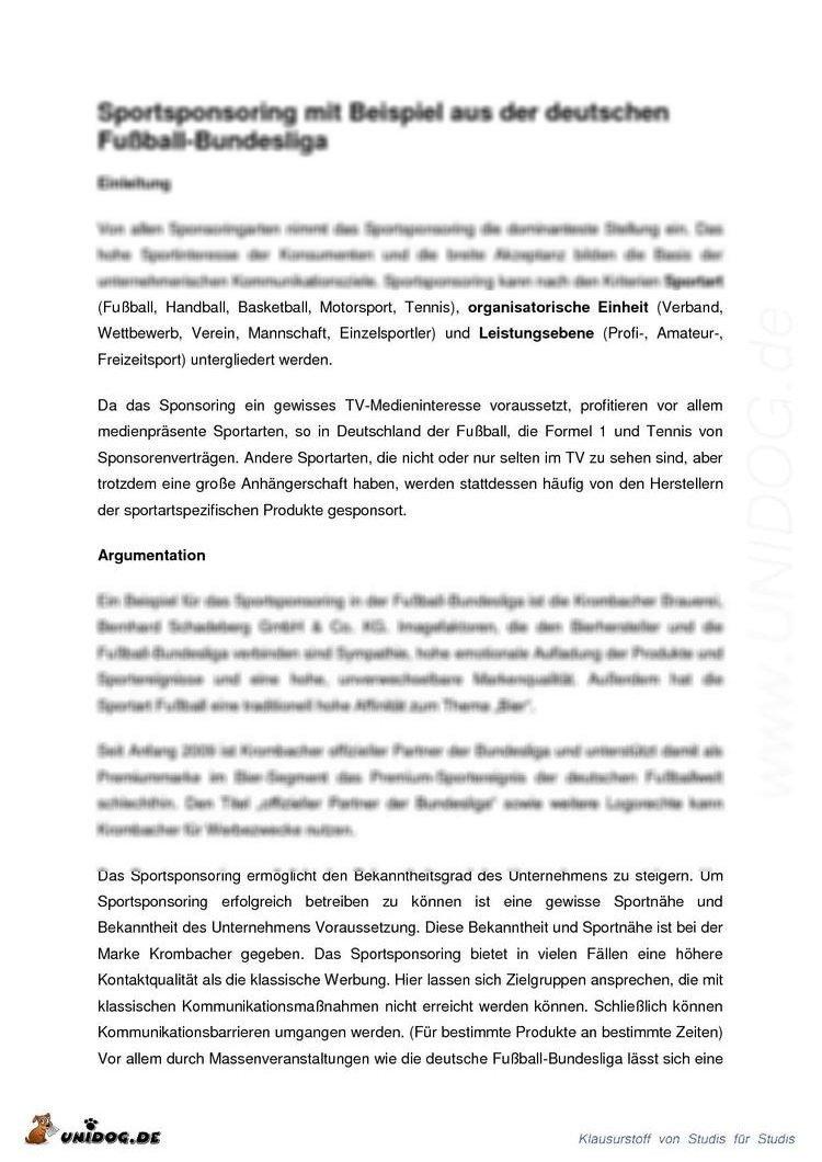 UNIDOG - Abstract - Sportsponsoring mit einem Beispiel aus ...  UNIDOG - Abstra...