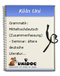 Grammatik Mittelhochdeutsch Zusammenfassung Seminar ältere
