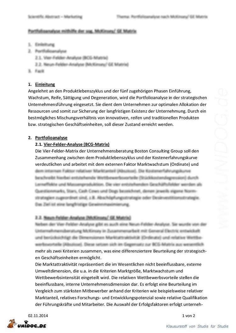 UNIDOG - Scientific Abstract - Portfolioanalyse (BCG, McKinsey, GE ...