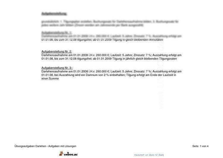 UNIDOG - Übungsaufgabe Tilgungspläne Darlehen