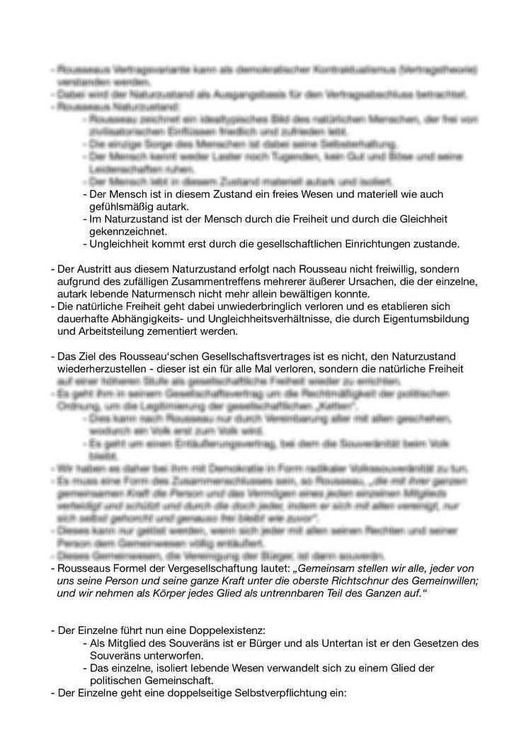 Zusammenfassung Des Textes Von Rousseau Zur Fünften Vorlesungssitzung