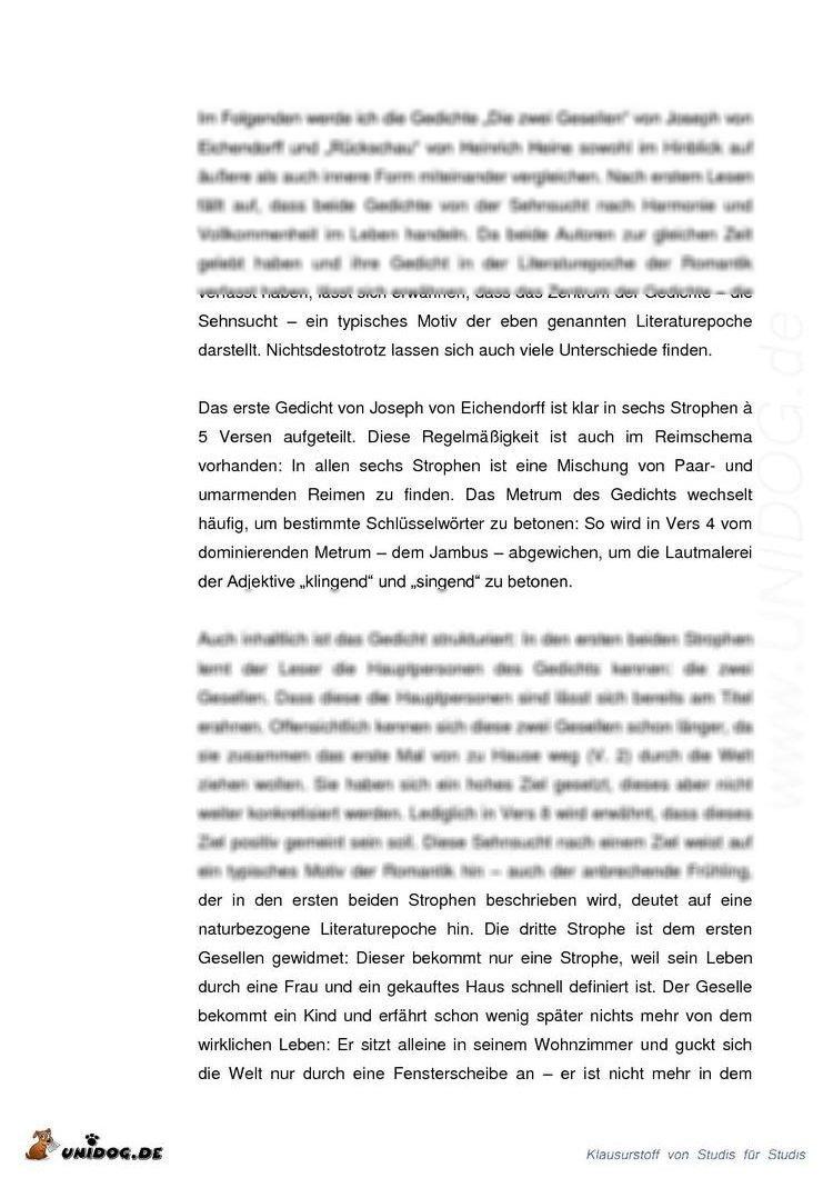 joseph von eichendorff sehnsucht analyse