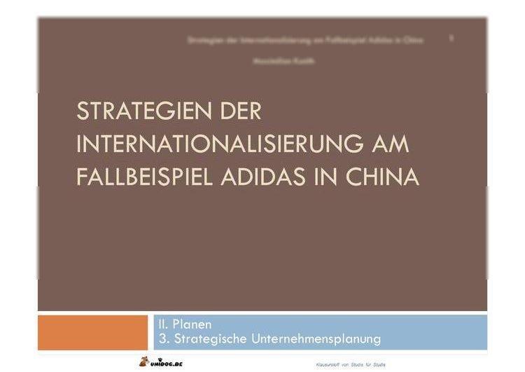 Strategie Internationalisierung Adidas China
