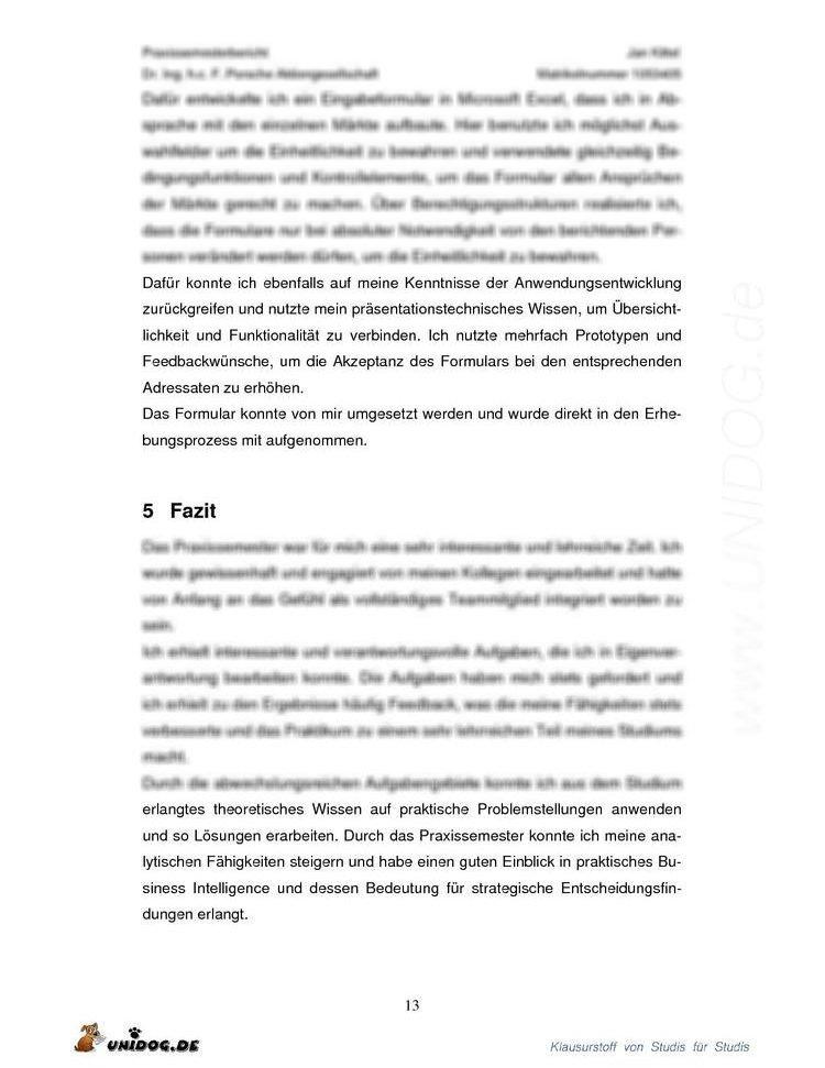 Praxisphasenbericht Porsche Ag