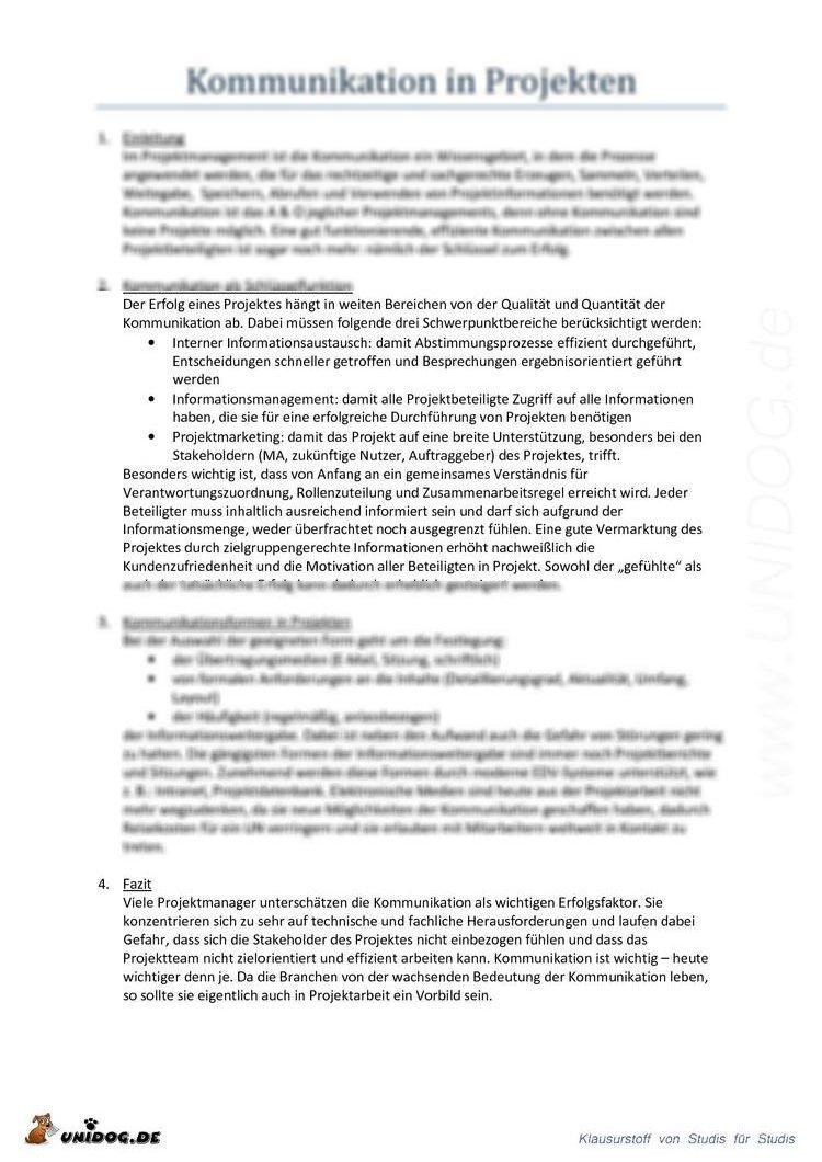 Abstract Kommunikation Als Wesentlicher Bestandteil Der Projektarbeit