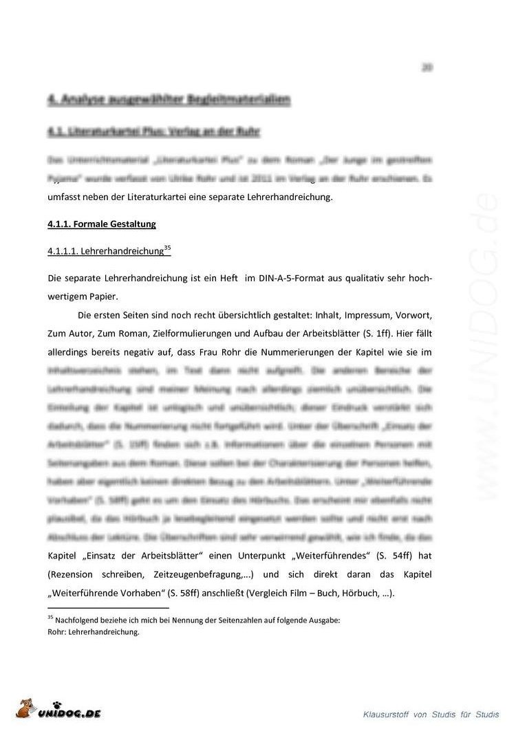 Analyse von lektürebegleitenden Unterrichtsmaterialien am Beispiel ...