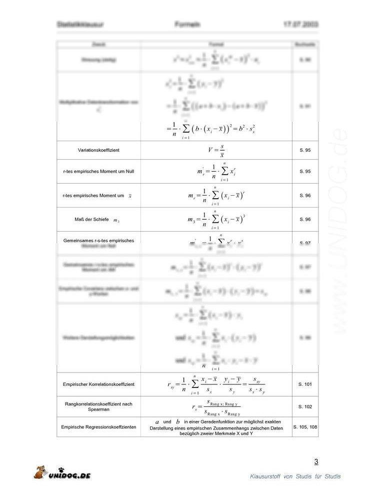 Formelsammlung statistik 1 for Statik formelsammlung