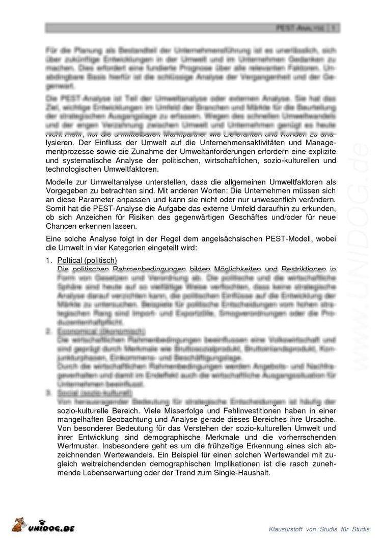 Scientific Abstract: PEST- Analyse Management Basics Helena Lischka