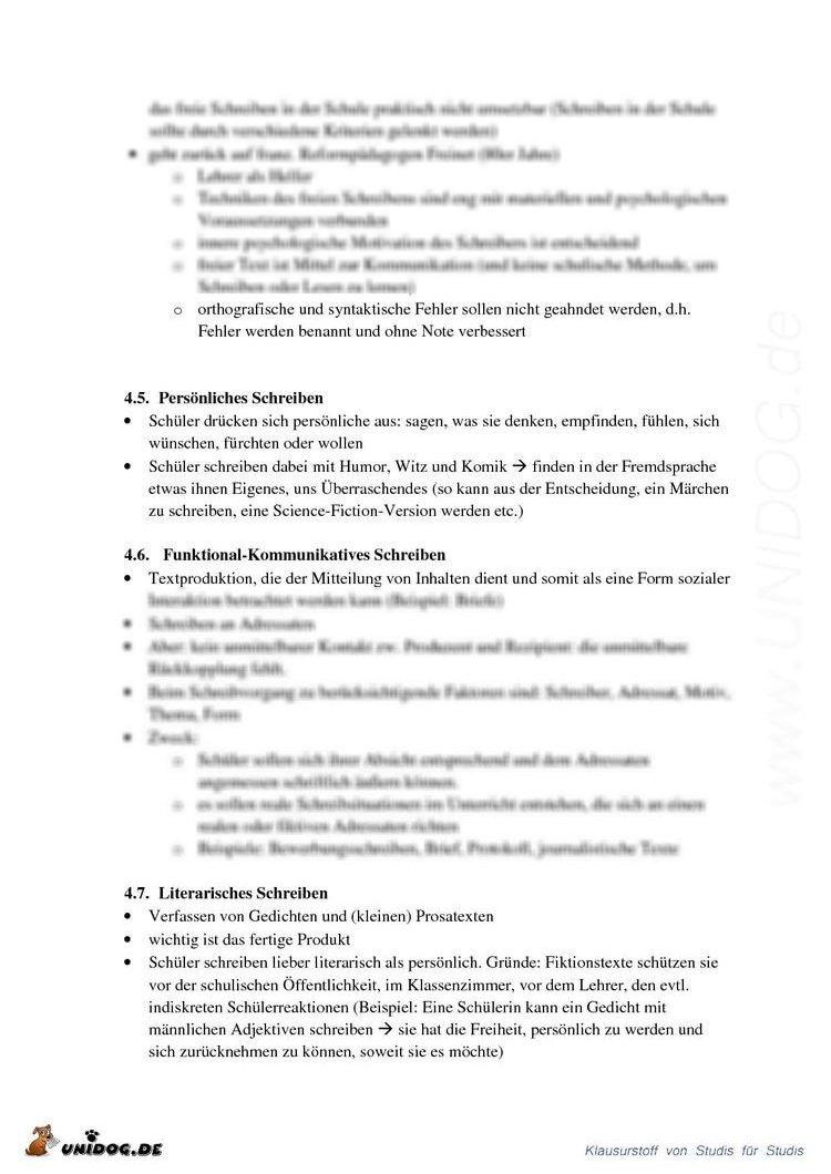 Schreiben im Französischunterricht (nur Handout)