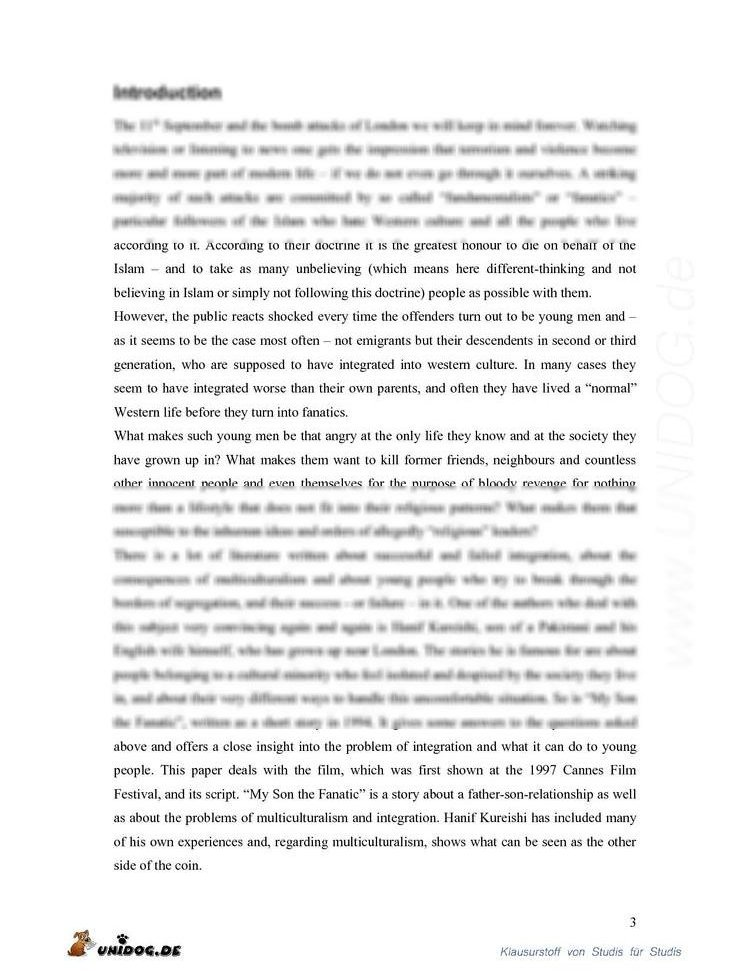 Hanif kureishi my son fanatic essay