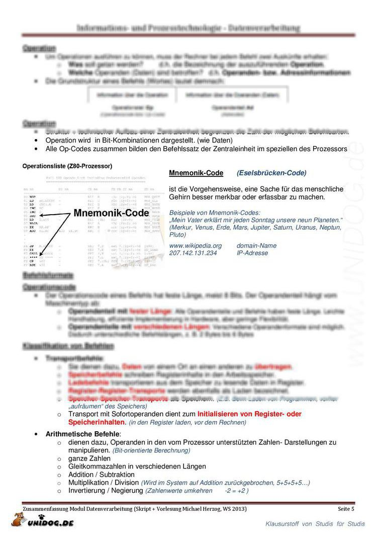 Zusammenfassung Datenverarbeitung